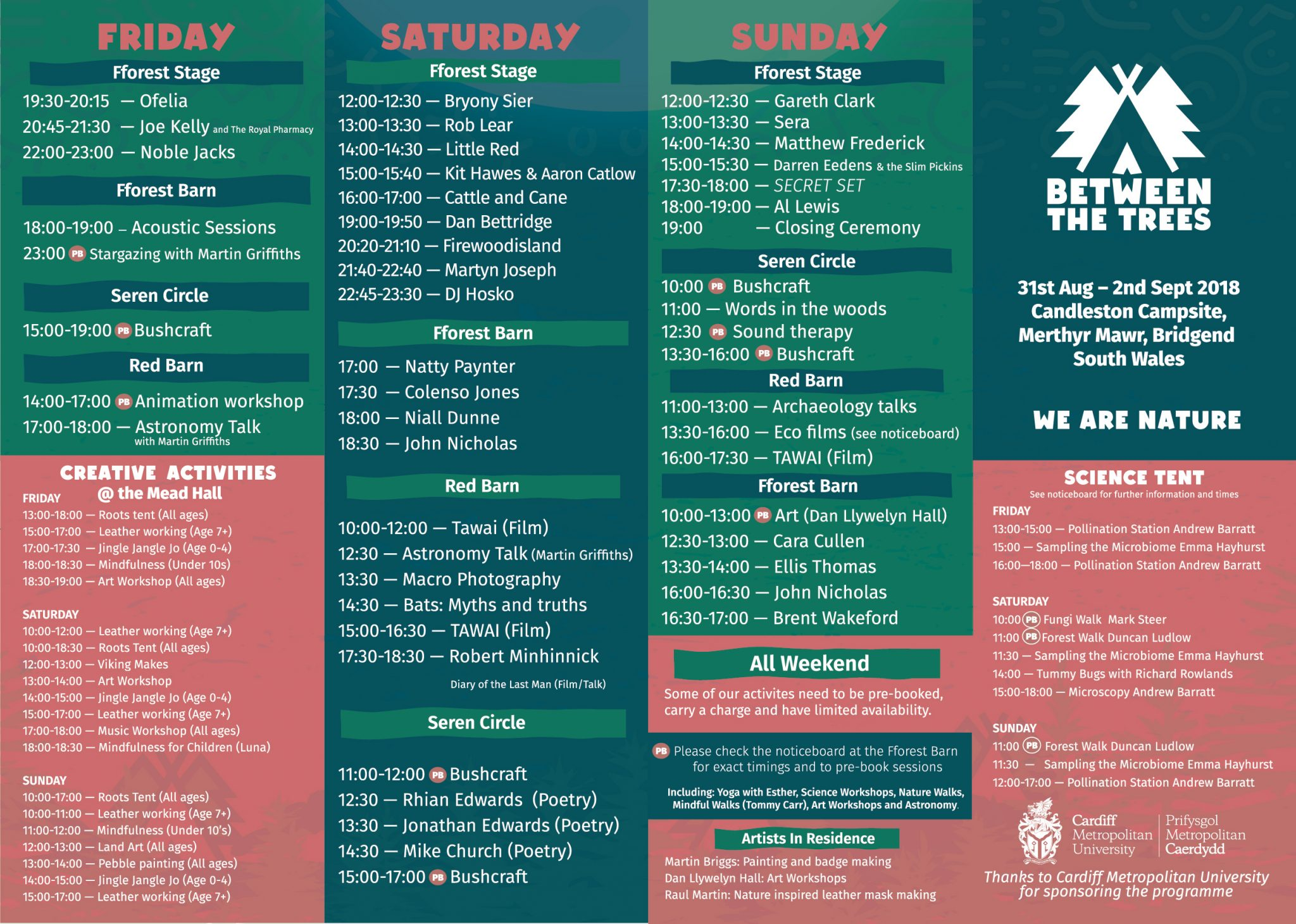 Between The Trees 2018 festival programme and lineup
